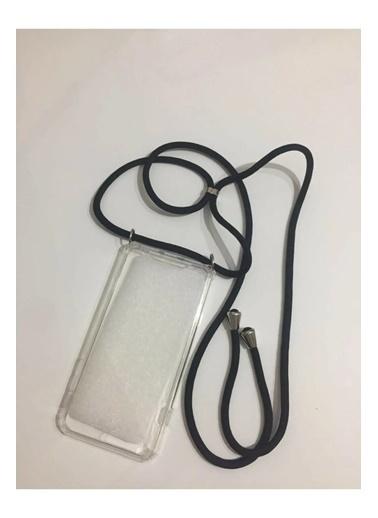 marstec Apple Iphone 11  Siyah Boyun Askılıklı Şeffaf Telefon Kılıfı Siyah